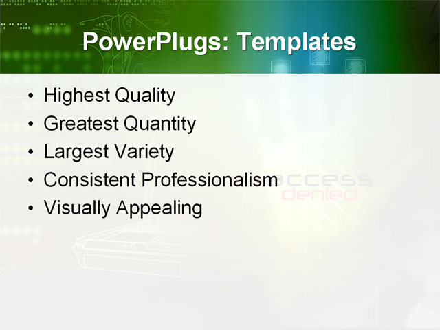 PowerPoint Template - access, alarm, antivirus - Print Slide