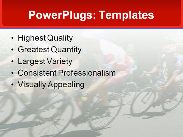 PowerPoint Template - cycling, racing, racers - Print Slide