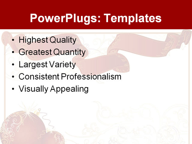 powerpoint template two red shinning christmas balls