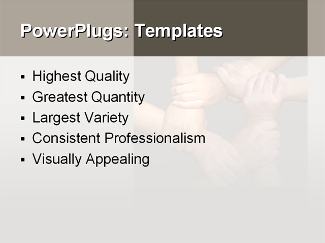 PowerPoint Template - hands, join hands, together team - Print Slide