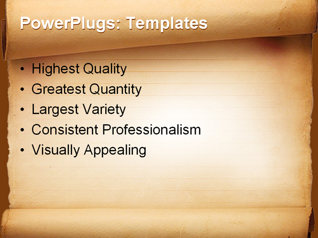 PowerPoint Template - scroll paper, education, brown - Print Slide
